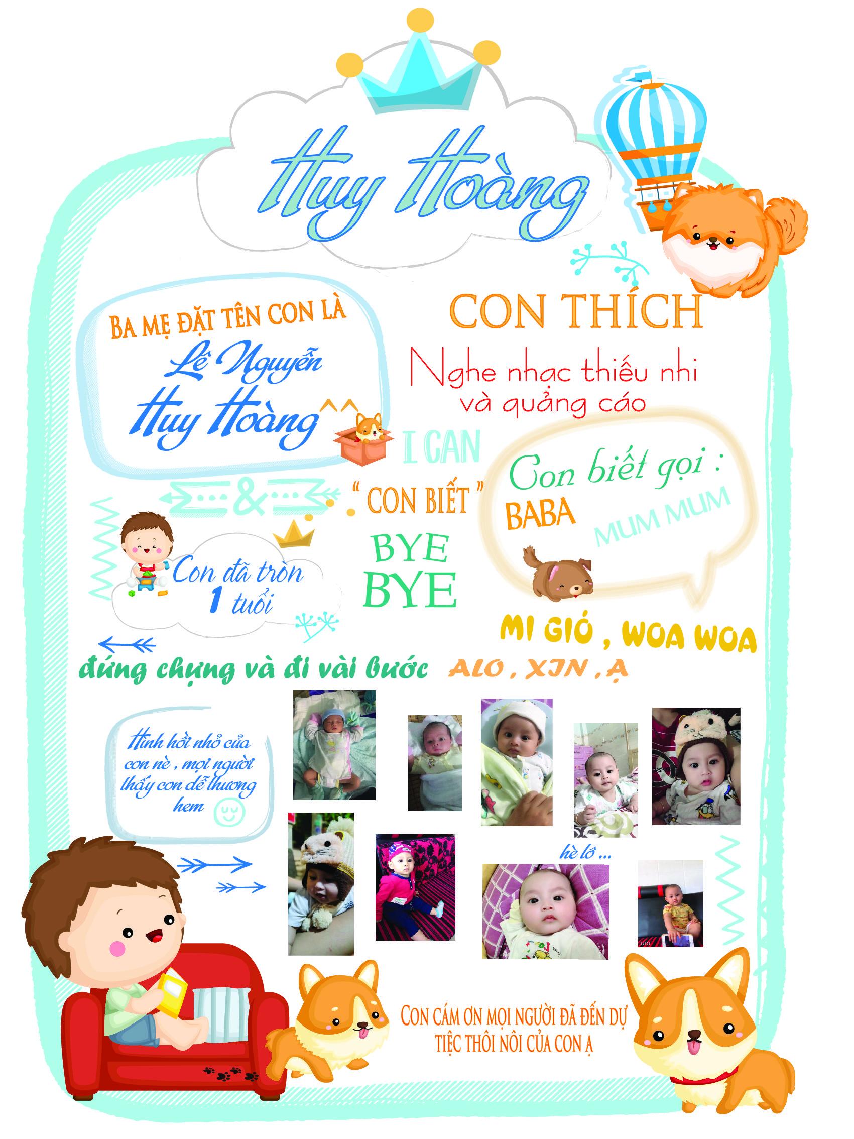 Bảng sinh nhật màu trắng cho bé trai và bé gái