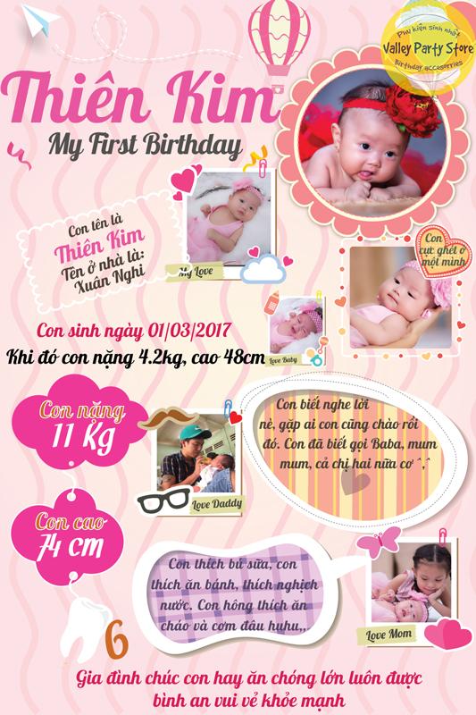 Bảng thông tin sinh nhật dễ thương cho bé gái