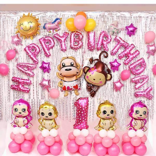 Bộ phụ kiện trang trí sinh nhật màu hồng